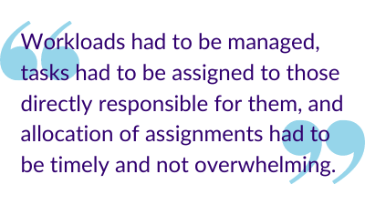 """Workloads had to be managed, tasks had to be assigned to those directly responsible for them, and allocation of assignments had to be timely and not overwhelming."""