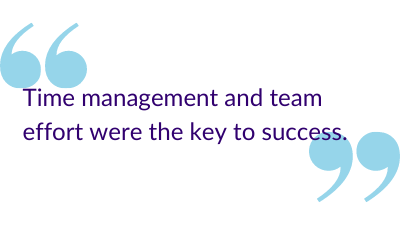 """Time management and team effort were the keys to success."""