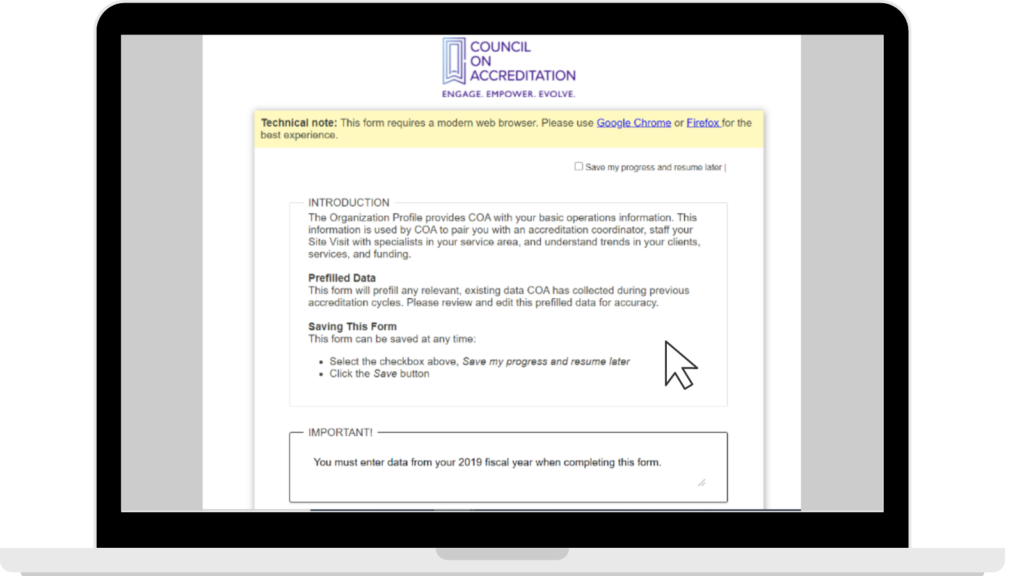 Annual Report electronic submission form